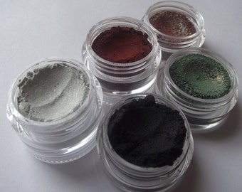 Krampus Collection Set - 5 Eyeshadows and 1 Lipstick Eyeshadow Organic Vegan Satin Shimmer Glitter - Gothic - Pagan - Gift Set