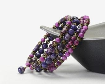 Purple Stone Memory Wire Bracelet - Multi-color Plum and Purple Bracelet with Impression Jasper and Crazy Lace Agate