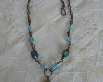 Turquoise and Teal Steampunk Pendant Necklace