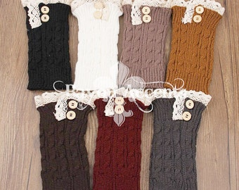 Lace Trim Cable Knit Bootcuffs