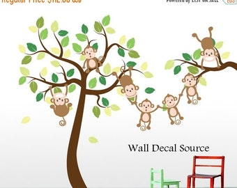 Monkey Tree Decal - Jungle Tree Decal - Monkey Wall Decal