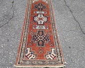 1960s Hand-Knotted Ardabil Persian Rug Runner (3399)