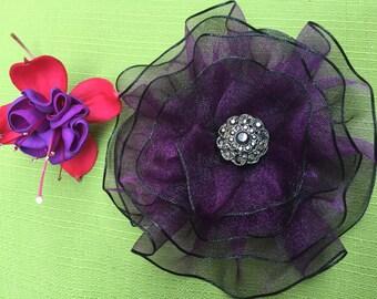 Purple Flower Brooch, Plum Brooch, Eggplant Brooch, Magnetic Brooch, Magnetic Jewelry