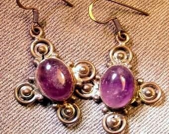 Vintage Amethyst Cross Earrings Sterling Silver Bohemian Jewelry