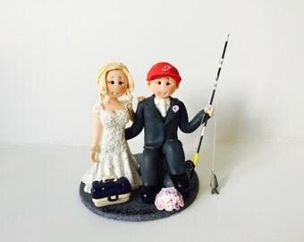 Rock climbing wedding cake topper - Rock climbing groom and bride wedding cake topper