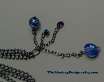Night Sky necklace / chains / star necklace / beaded / handmade / gifts for women / long chain / nature / swarovski / jewelry / etsy