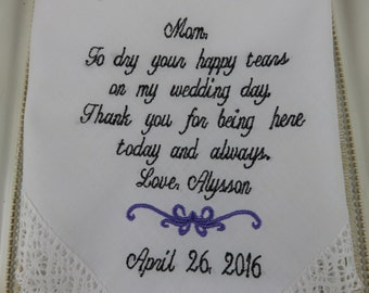 Personalized Wedding Handkerchief For Mother Of The Bride - Wedding Gift - Embroidered Handkerchief Gift For Mom