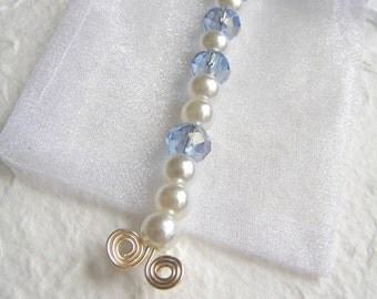 Glass pearl and glass crystal pendant with spiral wirework, blue, white,  OOAK, gift under 20