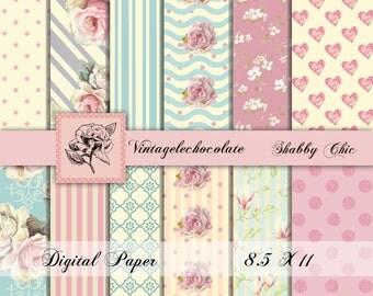 Digital Scrapbook Paper, Digital Paper, Shabby Digital Pink Paper, Digital Shabby Paper, Pink Vintage Rose Paper. No. P109.
