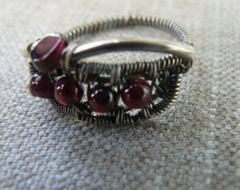Ruby Garnets - Sterling Silver - RING, - Wire Wrapped - size 8.5