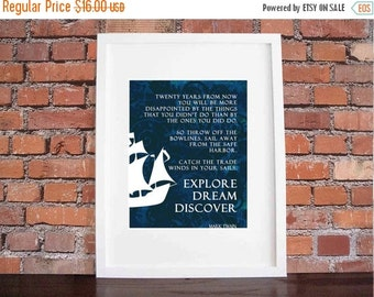 ON SALE Explore Dream Discover-Inspirational Prints Quotes, by Mark Twain Typography Wall Art Design 8 x 10 Poster Print