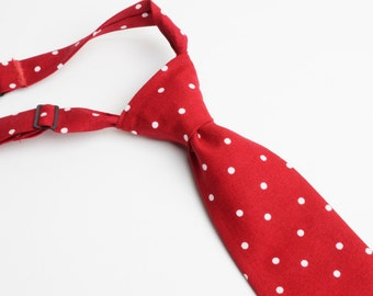 Red Polka Dot Neck Tie With Adjustable Strap