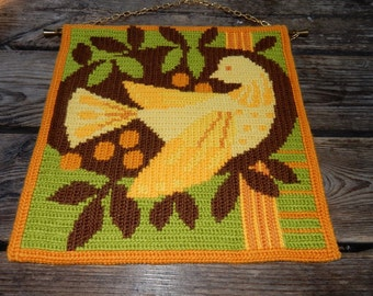 Swedish hand embroidered wall hanging 1970 s / bird