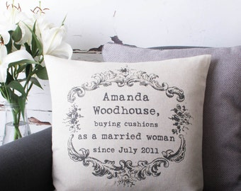 Personalised Anniversary Vintage Style Quote Poem Custom Made Pillow Cushion Cover Quality Linen Cotton
