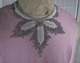1960s Pink Hand Beaded Sleeveless Dress........size Medium or size 8......  REDEFINE Pretty in Pink!