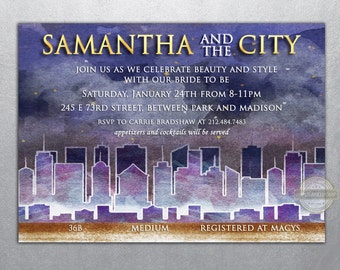 And the City In the City Sixteen in the City Bachelorette Birthday Invitation Lingerie Party Printable Digital