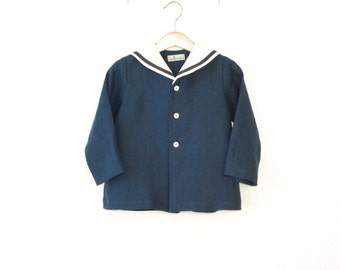 Boys coat Boys sailor coat Toddler boy sailor jacket Linen blazer Navy blue blazer Baby boy sailor outfit Wedding coat Nautical blazer