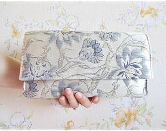 Sale Bridesmaids clutch blue silver light gray lotus flower clutch evening purse wedding bridal gift