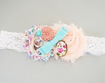 First birthday headband. Shabby chic headband. Turquoise rosette headband. Girls 1st birthday headband. Baby girl photo prop. Teal headband.