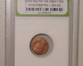 Ancient Constantine the Great Era Roman Empire Coin, Copper Circa 330 AD, Slabbed, INB