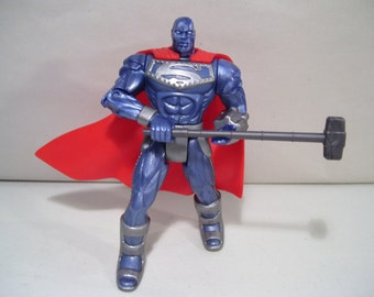 Vintage Superman Steel Action Figure, 1995, DC Comics Kenner, New & Complete, Man of Steel