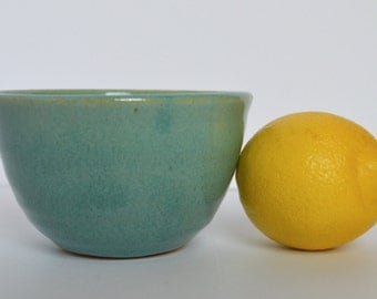 Pottery Small Bowl, Turquoise Stoneware Bowl, Medium Cereal Bowl, Teal Ceramic Bowl
