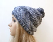 Cabled Pom Pom Hat - Women Hand Knitted Bobble Hat - Chunky Acrylic Grey Black Ski Hat - Winter Knitted Hat - Clickclackknits