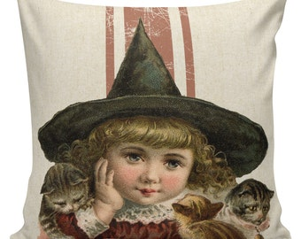Halloween Pillow Vintage Victorian Witch Girl Burlap Cotton Throw Pillow Cover #HA0221