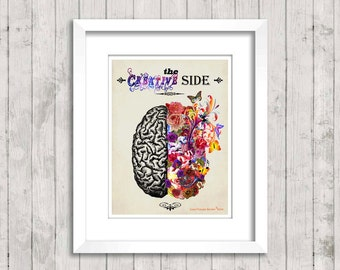 The Right Creative Brain - Watercolor 8.5 x 11, Fine Art Medical print, Neurologist Gift, Nurse gift, Neurosurgeon gift, Psychologist gift