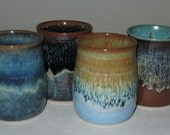 Pottery Wine Cups, Set of 4, 6 oz, Hand Thrown, Variety colors