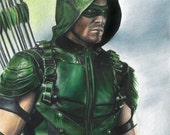 "Full Color Drawing Print of Stephen Amell as Green Arrow in TV's ""Arrow"""