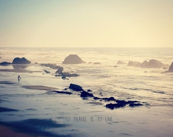 Canvas wrap or Giclee Print, Coastal Seascape, Beach, Typography, wall hanging, home decor,  Nature Photography by RDelean