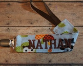 Name Pacifier Clip, Personalized Binky Holder, Woodland Creatures