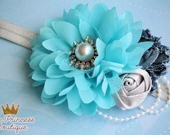 Denim Days - Headband, Baby Headband, Photography Prop, Couture Headband, Hair Clip, Blue Headband, Denim Headband, Shabby Chic Headband