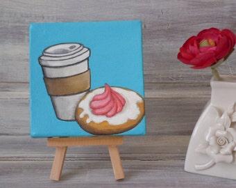 "SPECIAL SALE Coffee Art. Original Acrylic Painting. 4"" x 4"" Original Painting. Coffee Lovers"