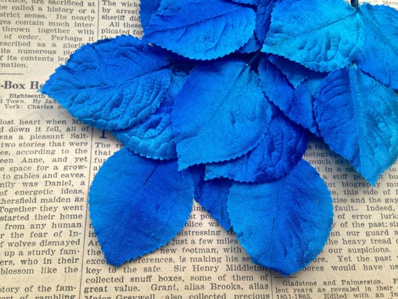 Vintage Satin Millinery Leaves - Royal Blue Shaded - Satin Fabric Leaves, Wire Stems - Hat Making, Corsage, Floral Supplies