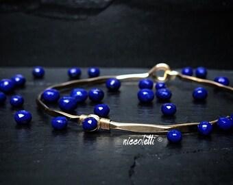 Lapis Lazuli Bracelet / Blue Lapis Bangle / Thin Gold Stacking Bangles / Alternate September Birthstone / Gift for Mom / Bridesmaid Bangles