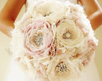 Fabric Brooch Bouquet, Fabric Flower Bouquet, Bridal Bouquet, Wedding Bouquet, Light Pink/Blush and Off White/Ivory, CUSTOM COLORS