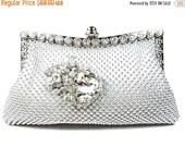 SALE 30% OFF Crystal Bridal Clutch, Silver Mesh Rhinestone  Bridal Clutch, Silver Crystal Wedding Purse, Crystal Evening Clutch ~ P 10