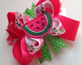 WATERMELON Sweetie Large Girls Hair Bow, Baby Bow, Toddler Boutique Watermelon Bow, Hot Pink Dot, Apple Green Watermelon Bow