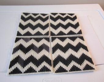 BLACK WHITE CHEVRON Design Coasters in Plastic Needlepoint Set of 4