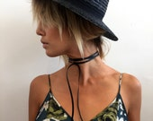 Neck wrap choker necklace genuine leather suede bolo tie black