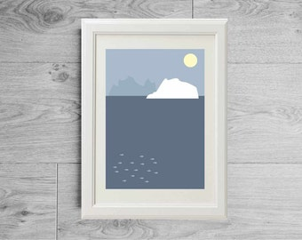 Minimalist print ocean - Scandinavian print sea ocean - Iceland print - Scandinavian minimalist poster - Marine landscape - Modern art print