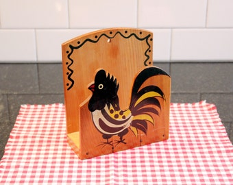 Chicken Feed... Vintage 1950s Rooster Napkin Holder - Handpainted, Woodpecker Wood Ware, Made in Japan