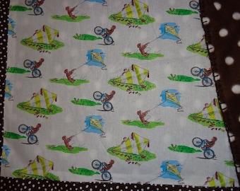 White CG Monkey Kite/Bike/Ball/Brown Polka Dot Cotton/Fleece Blanket/Quilt