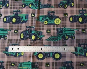 Brown Plaid John Deere Tractor Toss Cotton Fabric by the Yard