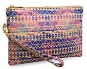 """SALE! Artist Designed Clutch Bag/Purse/Wristlet """"Substitution"""" stylish,unique, colourful aztec tribal vegan leather bag blue"""