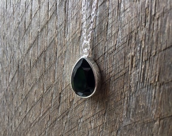 Teardrop Black Crystal Necklace Swarovski Pear Pendant on Silver or Gold Chain Bridal Necklace