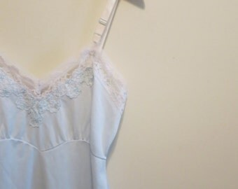 Wedding Lingerie Something Blue slip dress with ivory lace Bridal Shower Gift S 34