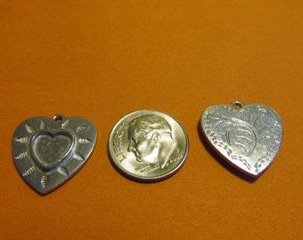 Dozen Pewter Heart Charms